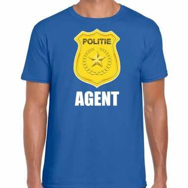 Agent politie embleem carnaval t kostuum blauw heren