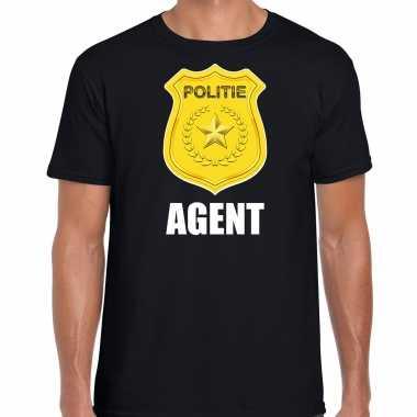 Agent politie embleem carnaval t kostuum zwart heren