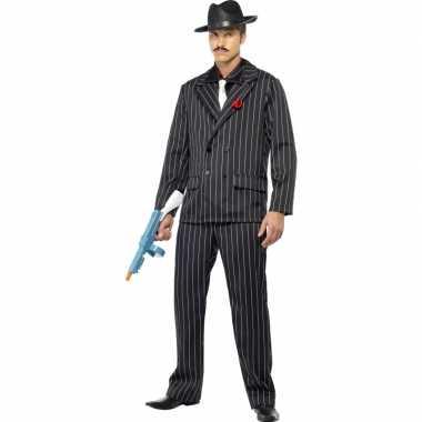 Carnaval  Al capone kostuum zwart heren