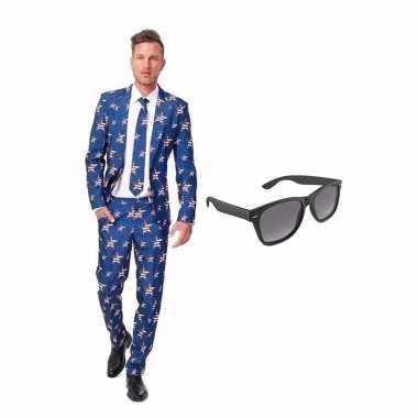 Carnaval amerikaanse vlag heren kostuum maat (s) gratis zonnebril