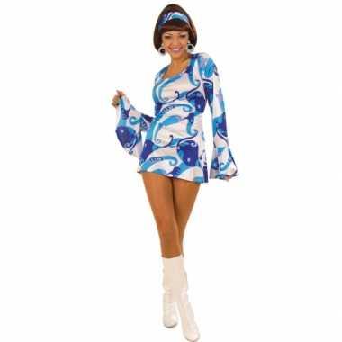 Carnaval  Blauw gekleurde dames kostuum jurk jaren
