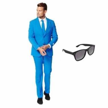 Carnaval blauw heren kostuum maat (s) gratis zonnebril