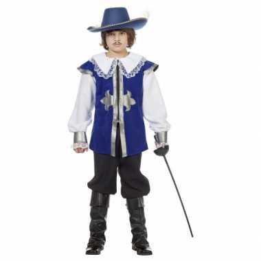 Carnaval  Blauw musketier kostuum kinderen
