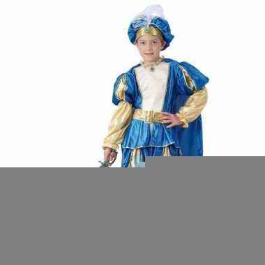 Carnaval blauw prinsen kostuum jongens