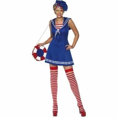 Carnaval  Blauw sailor kostuum jurkje baret