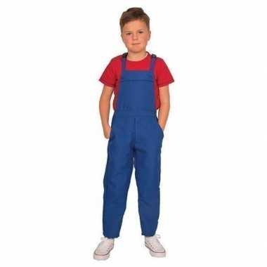Carnaval blauwe tuinbroek overall kinderen kostuum