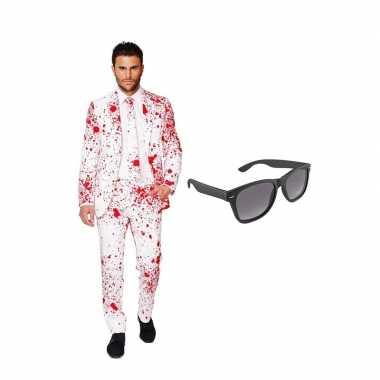 Carnaval bloedspatten print heren kostuum maat (xxl) gratis zonnebril