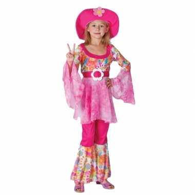 Carnaval  Complete roze hippie kostuum meiden