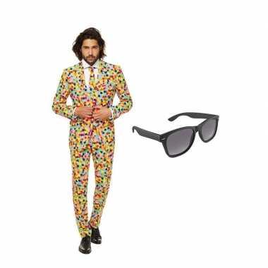 Carnaval confetti print heren kostuum maat (m) gratis zonnebril