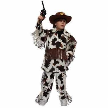 Carnaval cowboy kostuum koeienprint kinderen