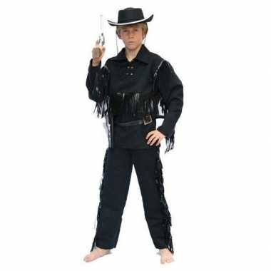 Carnaval cowboy kostuum zwart kinderen