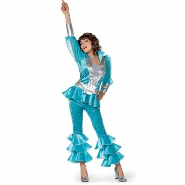Carnaval  Dames disco kostuum blauw/zilver