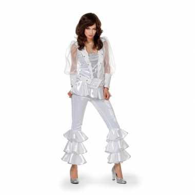 Carnaval  Dames disco kostuum wit/zilver