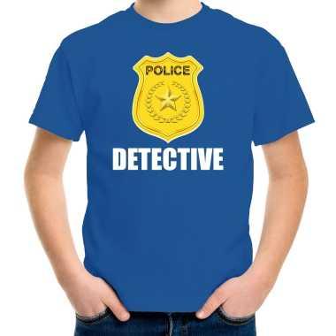 Carnaval detective police / politie embleem t kostuum blauw kinderen