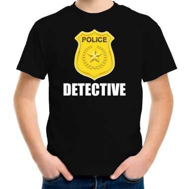 Carnaval detective police / politie embleem t kostuum zwart kinderen