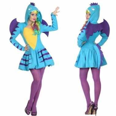 Carnaval dierenkostuum blauwe draak verkleed kostuum/jurk dames