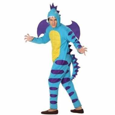 Carnaval dierenkostuum blauwe draak verkleedkostuum volwassenen