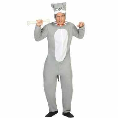 Carnaval dierenkostuum pit bull hond verkleed kostuum grijs volwassen