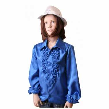 Carnaval  Disco kostuum kobaltblauw meisjes