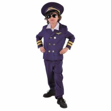 Carnaval  Donkerblauw piloten kostuum kids