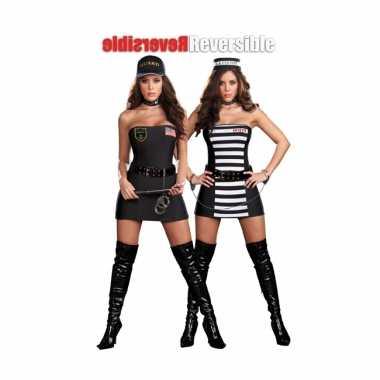 Carnaval dubbelzijdig kostuum boef politie