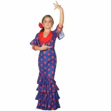 Carnaval flamenco danseres kostuum blauw rood