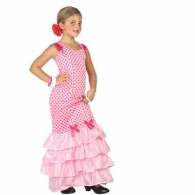 Carnaval flamenco danseres kostuum kinderen roze