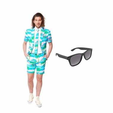 Carnaval flamingo zomer heren kostuum maat (s) gratis zonnebril