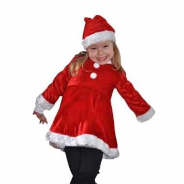 Carnaval  Fluwelen rood witte meisjes kerstjurkje kostuum