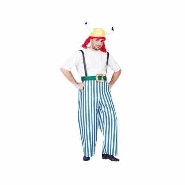 Carnaval gallier kostuum blauw wit heren