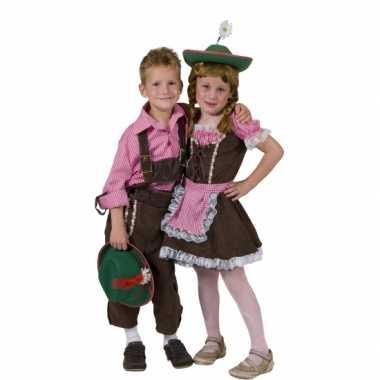 Carnaval  Geblokte Tiroler hemden kids kostuum