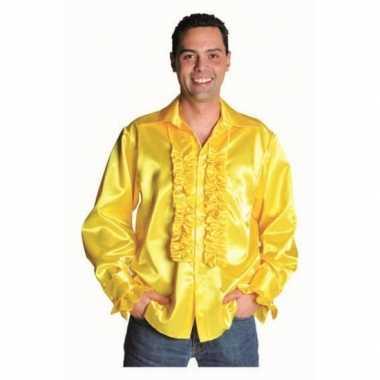 Carnaval geel heren overhemd rouches kostuum