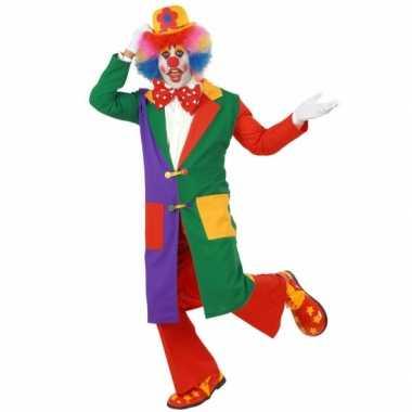 Carnaval gekleurde clown jas kostuum