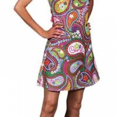 Carnaval  Gekleurde halter hippie kostuum jurk