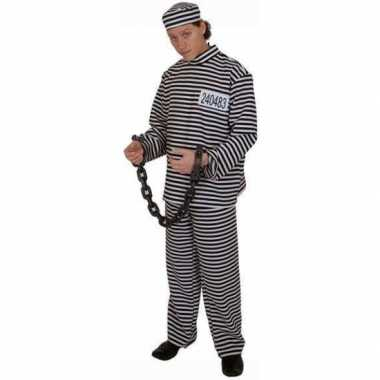 Carnaval  Gestreept gevangene kostuum volwassene