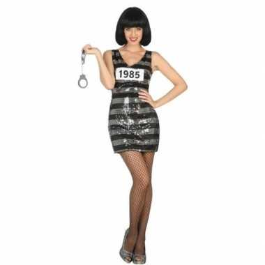 Carnaval gevangene/boef ann verkleed kostuum/jurk zwart/zilver dames