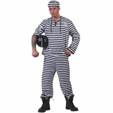 Carnaval  Gevangenen kostuum gestreept pet