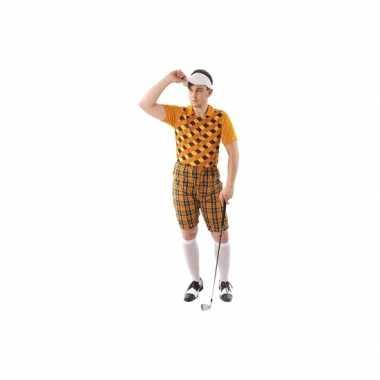Carnaval golf kostuum oranje heren