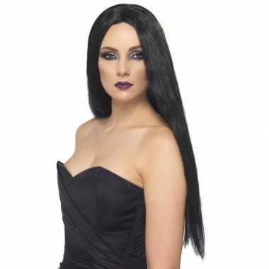 Carnaval gothic zwarte damespruik kostuum