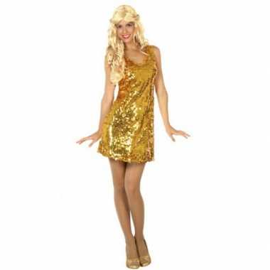 Carnaval  Goud verkleedjurkje pailletten kostuum
