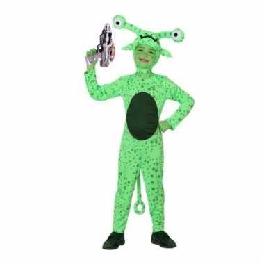Carnaval groen alien kostuum inclusief space gun maat
