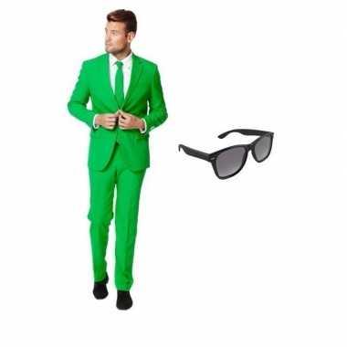 Carnaval groen heren kostuum maat (s) gratis zonnebril