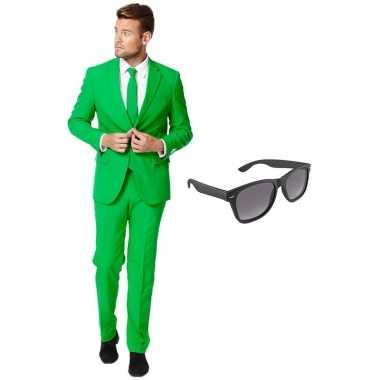 Carnaval groen heren kostuum maat (xxxl) gratis zonnebril