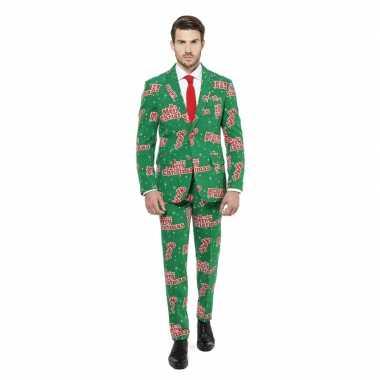 Carnaval groen heren kostuum merry christmas