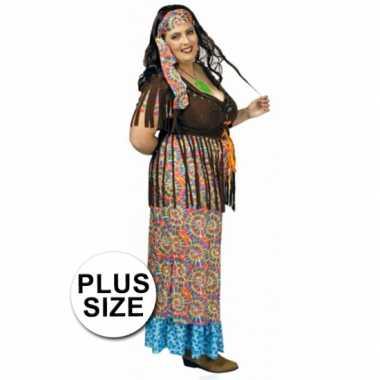 Carnaval  Grote maat hippie kostuum jurk dames