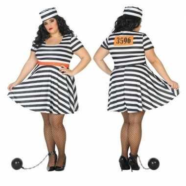 Carnaval grote maten gevangene/boef bonnie verkleed kostuum dames