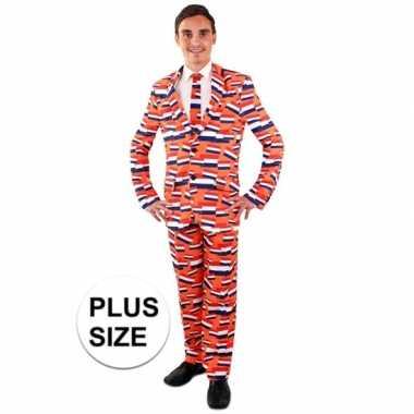 Carnaval grote maten leuk heren kostuum oranje vlag nederland heren