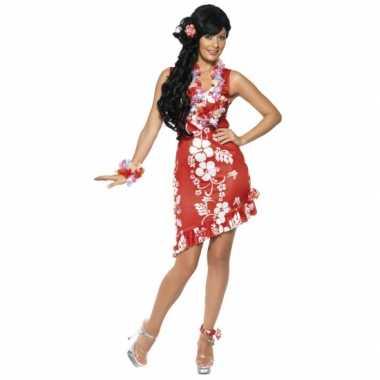 Carnaval  Hawaii kleding dames kostuum jurkje rood