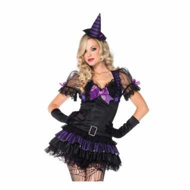 Carnaval  Heksen kostuum zwart/paars dames