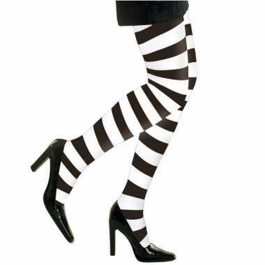 Carnaval heksen verkleedaccessoires panty maillot zwart wit dames kostuum